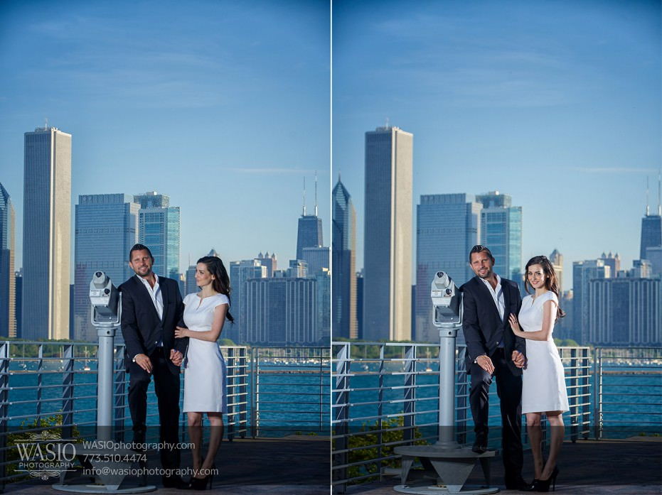 KS-ENG-2014-_Q7A7829-Edit-931x697 Chicago skyline sunrise engagement - Katherine + Stephen
