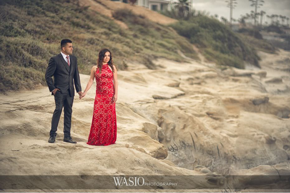 La-Jolla-Engagement-photos-red-dress-sunrise-beach-blog-3 La Jolla Engagement Photos - Rosie and Christian