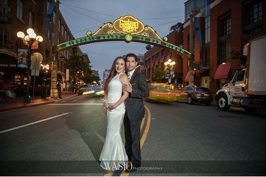 La-Jolla-and-Gaslamp-Quarter-Wedding-Photos-epic-Gaslamp-Quarter-sign-sunset-bride-groom-46 La Jolla and Gaslamp Quarter Wedding Photos - Bell & Frankie