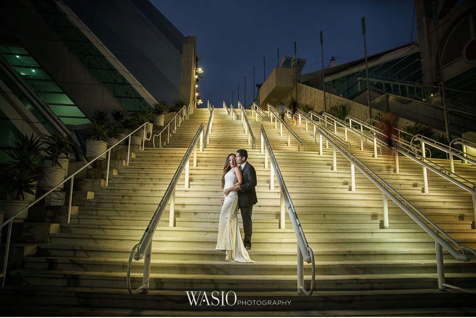La-Jolla-and-Gaslamp-Quarter-Wedding-Photos-sunset-bride-groom-portrait-convention-center-47 La Jolla and Gaslamp Quarter Wedding Photos - Bell & Frankie