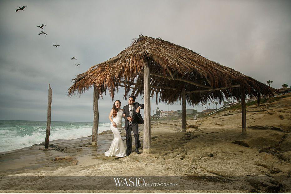 La-Jolla-and-Gaslamp-Quarter-Wedding-Photos-windandsea-beach-bride-and-groom-landscape-portrait-flying-birds-41 La Jolla and Gaslamp Quarter Wedding Photos - Bell & Frankie