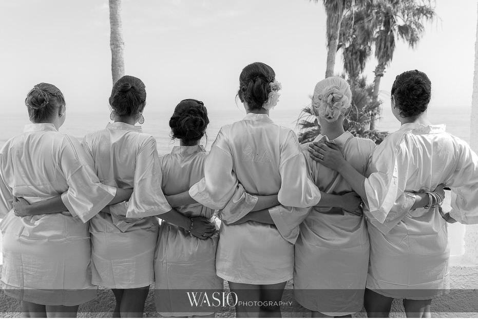 Las-Rocas-Resort-Rosarito-Wedding-bridal-bridesmaid-portrait-matching-robes-black-white-25 Las Rocas Resort Rosarito Wedding - Meaghan and Eric