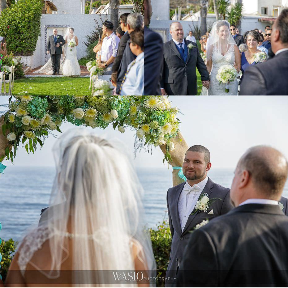 Las-Rocas-Resort-Rosarito-Wedding-bride-walking-down-aisle-ceremony-40 Las Rocas Resort Rosarito Wedding - Meaghan and Eric