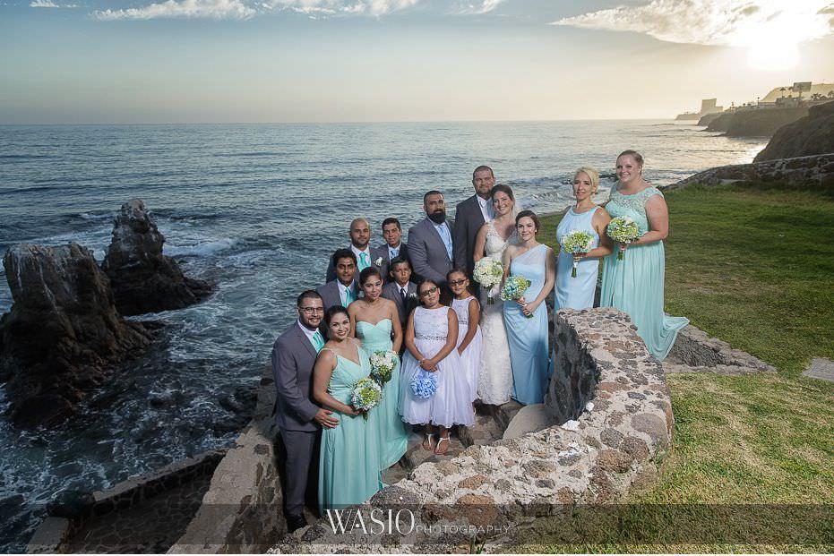 Las-Rocas-Resort-Rosarito-Wedding-bridesmaids-groomsmen-portrait-sunset-45 Las Rocas Resort Rosarito Wedding - Meaghan and Eric