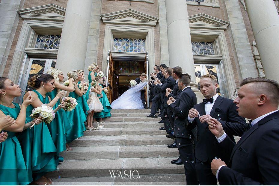 Lavish-wedding-by-Yanni-Design-bride-groom-church-exit-dip-fun-dip-kiss-bubbles-wedding-party-33 Lavish Wedding by Yanni Design - Maggie & Jerry
