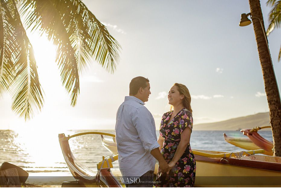 Maui-engagement-session-water-front-romantic-sunset-sun-flare-palm-trees-holding-hands-boats-Hawaii-Lipoa-beach-22 Romantic Maui Engagement Session - Kristen and Frank