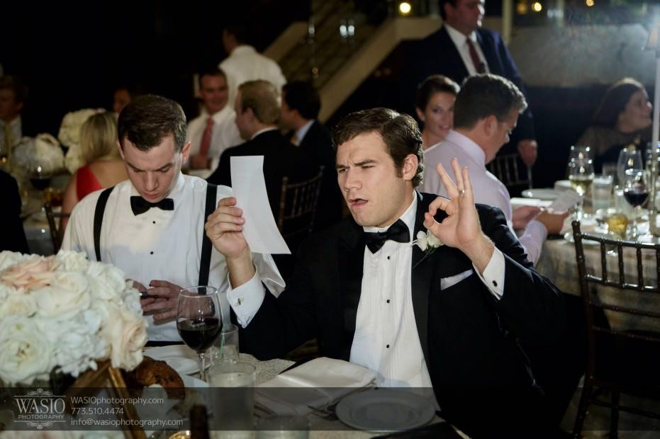 Montgomery-club-chicago-wedding-happy-groomsman-dinner-029-931x620 Montgomery Club Chicago Wedding - Lauren + Teddy