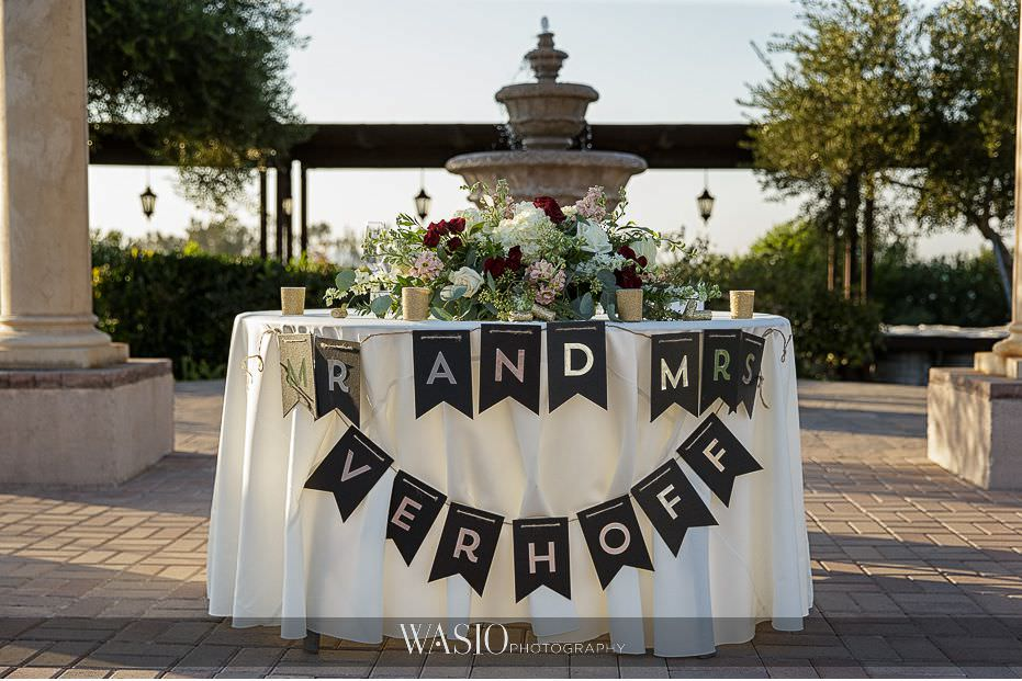 Mount-Palomar-Winery-Wedding-bride-groom-reception-details-head-table-gold-sign-80 Mount Palomar Winery Wedding - Chelsea & Brandon