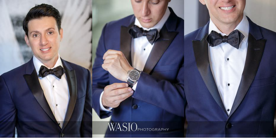 Museum-of-broadcast-communications-wedding-handsome-groom-portrait-navy-blue-tux-fancy-watch-custom-30 Museum of Broadcast Communications Wedding - Alyssa & Salvatore