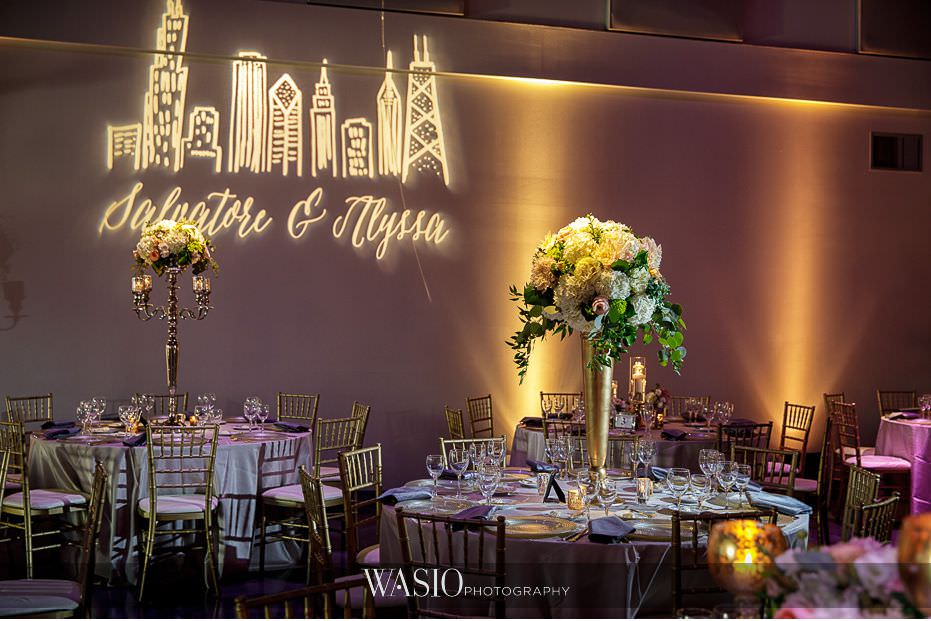 Museum-of-broadcast-communications-wedding-reception-decor-detail-big-fresh-florals-custom-gobo-54 Museum of Broadcast Communications Wedding - Alyssa & Salvatore