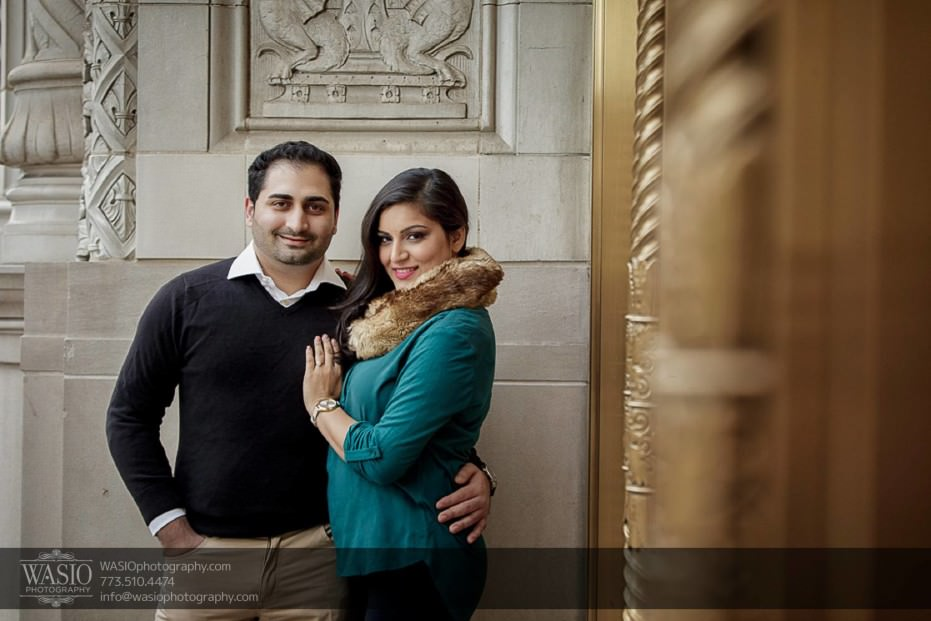 Snowy-Chicago-Engagement-Session-Wrigley-building-gold-tones-michigan-avenue-classy-winter-2-931x621 Snowy Chicago Engagement Session - Fatima + Asad