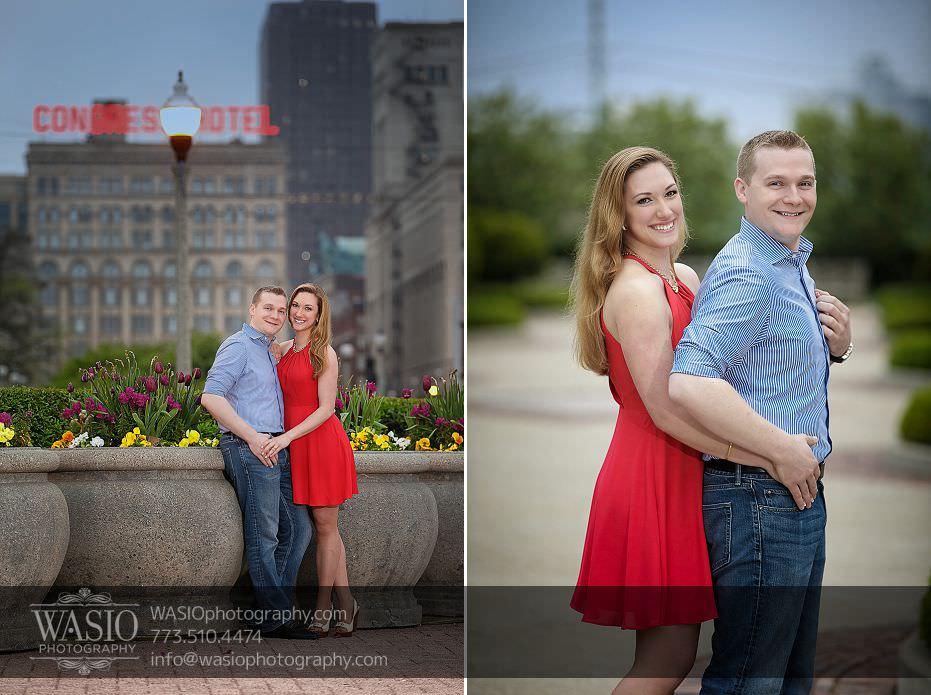 Sunrise-Chicago-Engagement-congress-hotel-spring-tulips-nature-city-skyline-fog-red-dress-hug-074 Sunrise Chicago Engagement - Nathalie + Nick