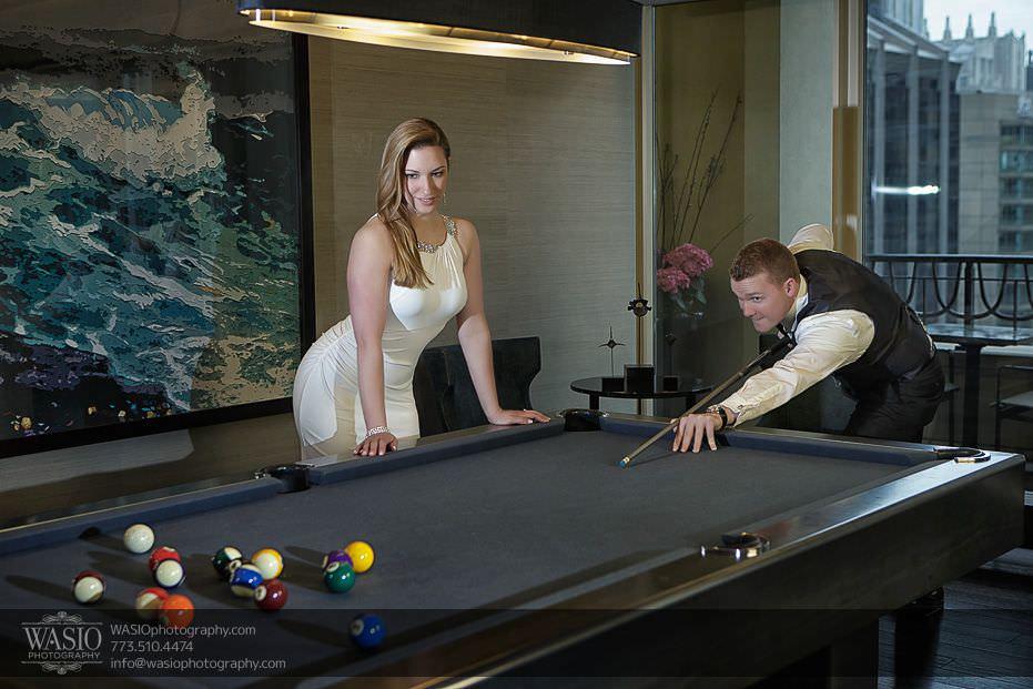 Sunrise-Chicago-Engagement-unique-idea-playing-pool-090 Sunrise Chicago Engagement - Nathalie + Nick