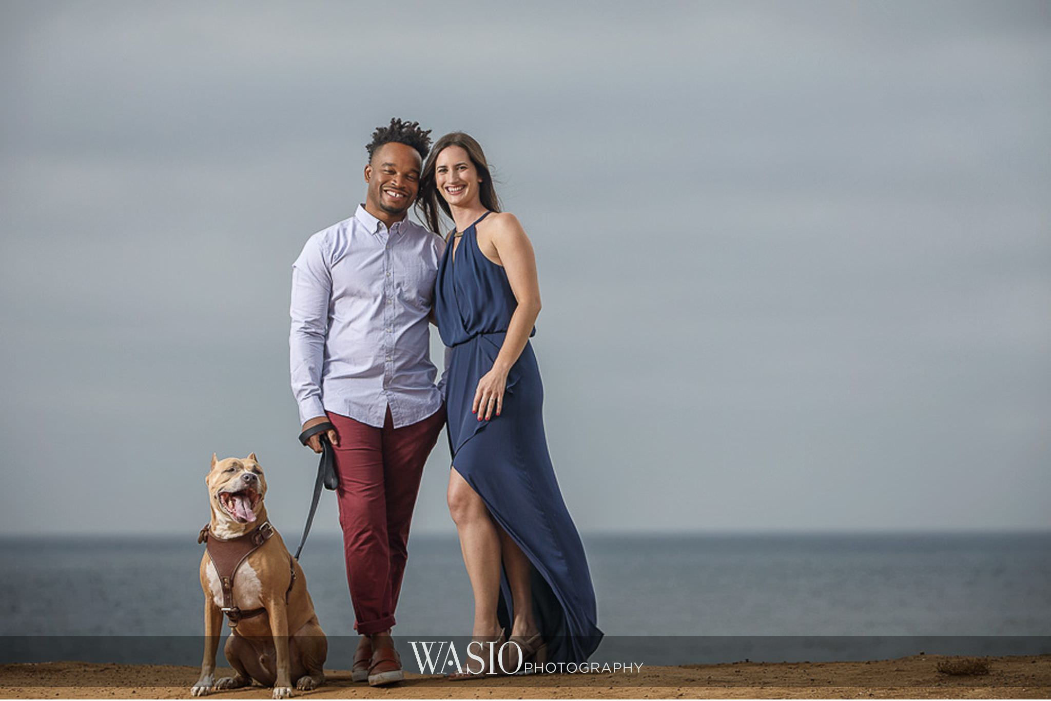 Sunset-Cliffs-San-Diego-Engagement-ocean-puppy-navy-dress-57 Sunset Cliffs San Diego Engagement - Laura and La Broi