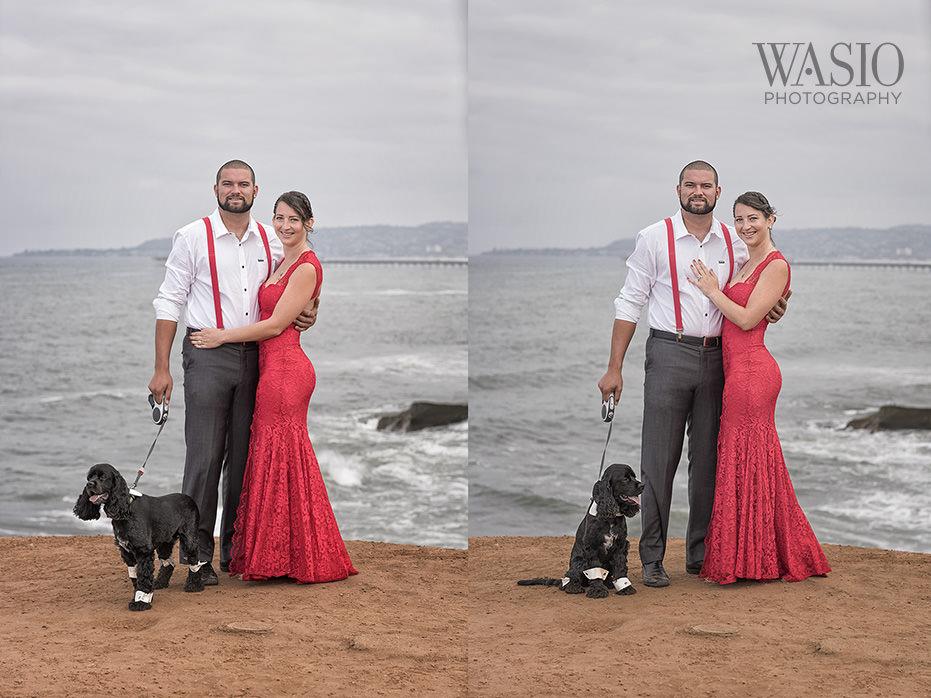 Sunset-cliffs-engagement-San-Diego-Ocean-Beach-Red-Dress-Cocker-Spaniel-puppy-bow-tie-34 San Diego Sunset Cliffs Engagement - Meaghan and Eric