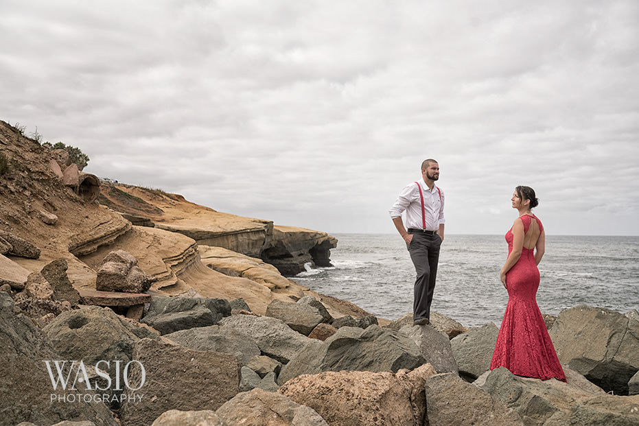 Sunset-cliffs-engagement-picture-beach-dramatic-landscape-red-lace-dress-43 San Diego Sunset Cliffs Engagement - Meaghan and Eric
