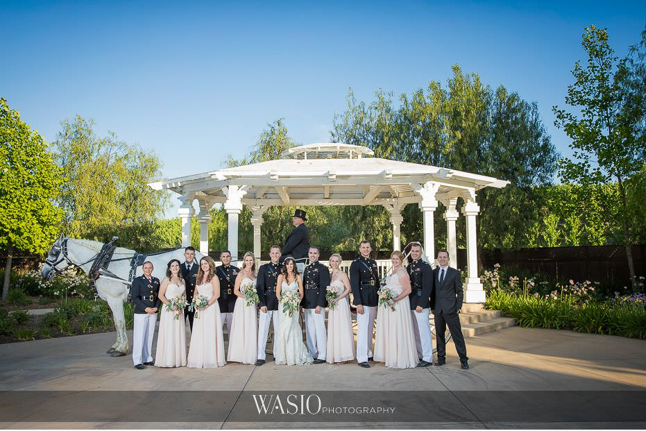 Wilson-Creek-Winery-Temecula-Wedding-groomsment-bridesmaid-group-photo-white-horse-carriage Wilson Creek Winery Temecula Wedding - Erin and Scott