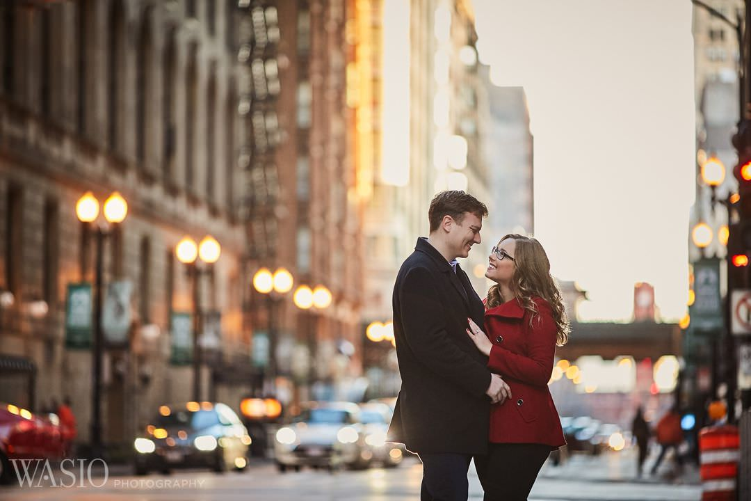 city-engagement-downtown-photographer Chicago winter engagement session - Lucy + John