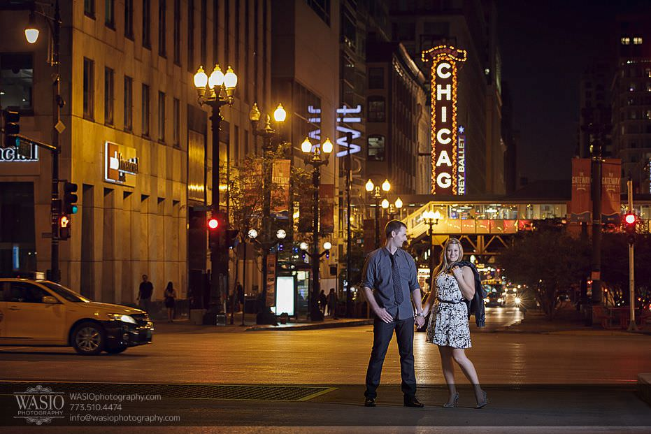 destination-engagement-Chicago-theater-after-sunset-dramatic-fun-51 Destination Engagement - Courtney and Mitch