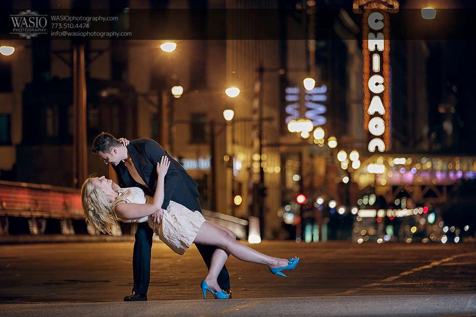 engagement-photos-dip-Chicago-theater-night-passion-fun-0711 Engagement Photos - Diana + Michael