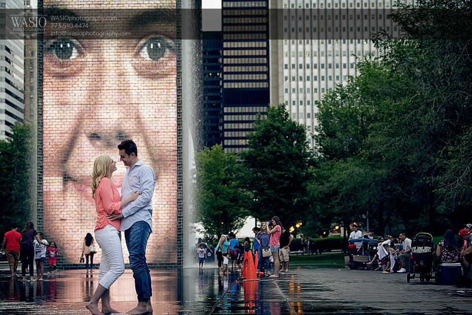 engagement-photos-millenium-park-fountains-outdoor-water-0713 Engagement Photos - Diana + Michael