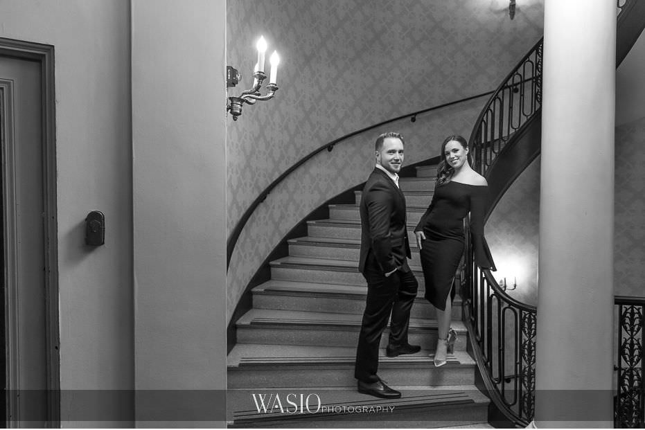evening-engagement-photos-black-white-photograph-Palmer-house-Hilton-Hotel-classic-portrait-64 Evening Engagement Photos - Izabela and Marcin