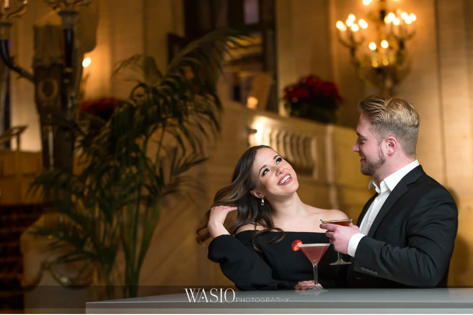 evening-engagement-photos-fun-photo-journalism-in-the-moment-playful-flirt-cocktails-love-Palmer-House-Hotel-66 Evening Engagement Photos - Izabela and Marcin