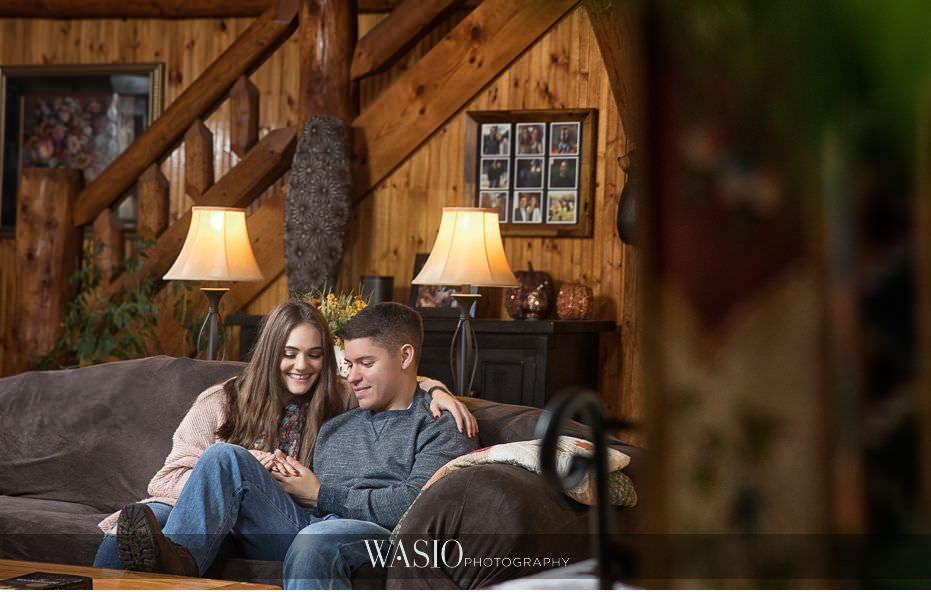 fall-engagement-pictures-cozy-cute-cabin-mirror-reflection-98 The Most Romantic Fall Engagement Pictures - Julia and Luis