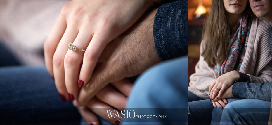 fall-engagement-pictures-pink-with-diamonds-engagement-ring-detail-heirloom-yellow-gold-engagement-band-01 The Most Romantic Fall Engagement Pictures - Julia and Luis