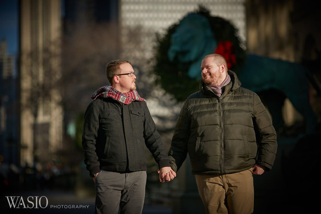 gay-engagement-chicago-michigan-avenue Chicago same sex engagement - Jeffrey + Brandon