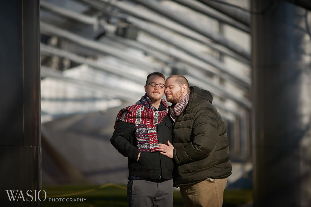millennium-park-engagement-gay-winter-lgbt Chicago same sex engagement - Jeffrey + Brandon
