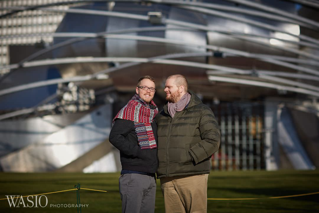 park-engagement-winter-gay-pritzker-pavilion Chicago same sex engagement - Jeffrey + Brandon