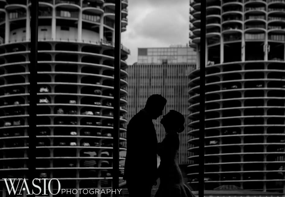 renaissance-chicago-downtown-hotel-wedding-black-white-landmark-silhouette-75 Renaissance Chicago Downtown Hotel Wedding - M & M