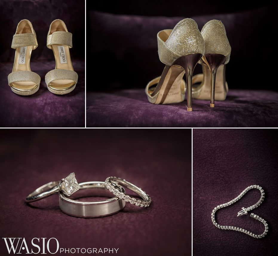 renaissance-chicago-downtown-hotel-wedding-details-jimmy-choo-shoes-gold-sparkles-engagement-ring-diamonds-78 Renaissance Chicago Downtown Hotel Wedding - M & M