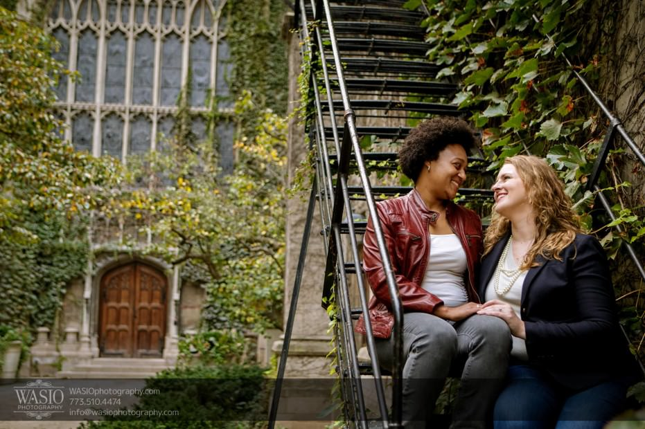 same-sex-engagement-laugh-happy-ivy-stairs-rustic-_47-931x620 University of Chicago same sex engagement - Olivia + Givonna