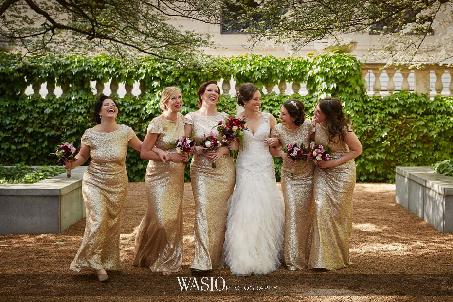 the-knot-best-of-weddings-hall-of-fame-blog-art-institute-garden-bridal-party-portraits-gold-sequence-bridesmaid-dress-23 The Knot Best of Weddings Hall of Fame - WASIO Photography