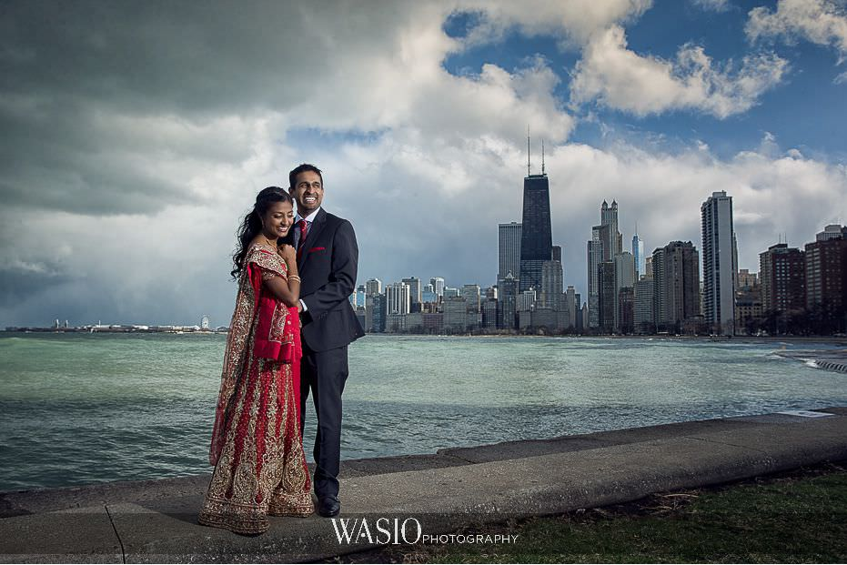 the-knot-best-of-weddings-hall-of-fame-blog-engagement-party-portrait-outdoor-North-Avenue-beach-Chicago-skyline-dramatic-indian-engagement-13 The Knot Best of Weddings Hall of Fame - WASIO Photography