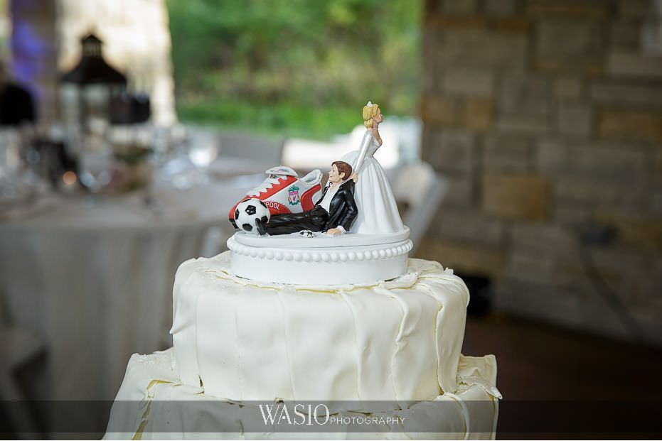 the-knot-best-of-weddings-hall-of-fame-delicious-white-chocolate-wedding-cake-funny-topper-soccer-theme-the-grove-wedding-blog-15 The Knot Best of Weddings Hall of Fame - WASIO Photography