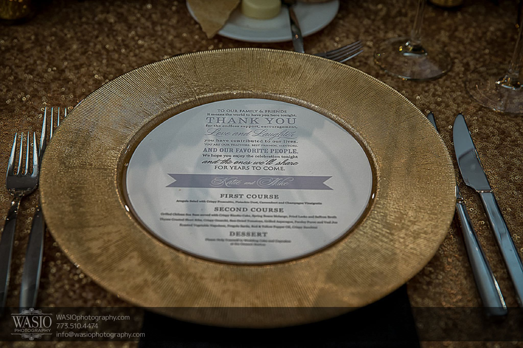 venue-one-chicago-wedding-gold-charger-plates-custom-dinner-menu-69 Venue One Chicago Wedding - Katie + Mike