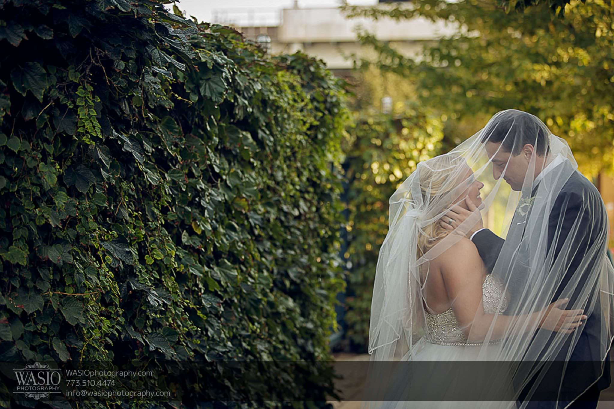 venue-one-chicago-wedding-intimate-kiss-under-veil-63 Venue One Chicago Wedding - Katie + Mike