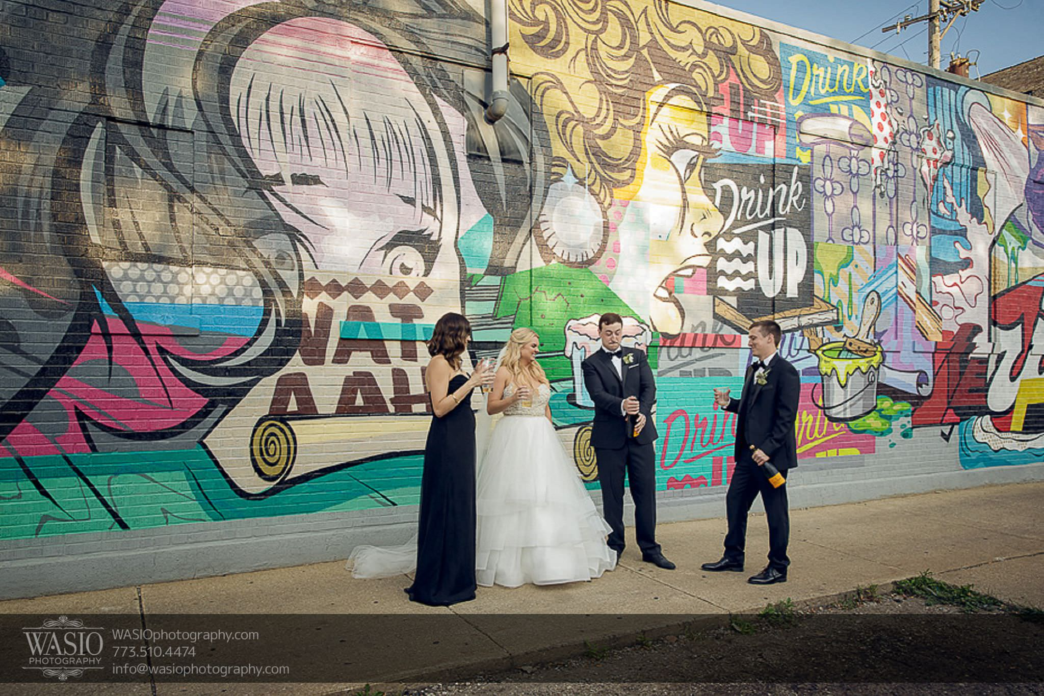 venue-one-chicago-wedding-popping-champagne-cool-graffiti-wall-64 Venue One Chicago Wedding - Katie + Mike
