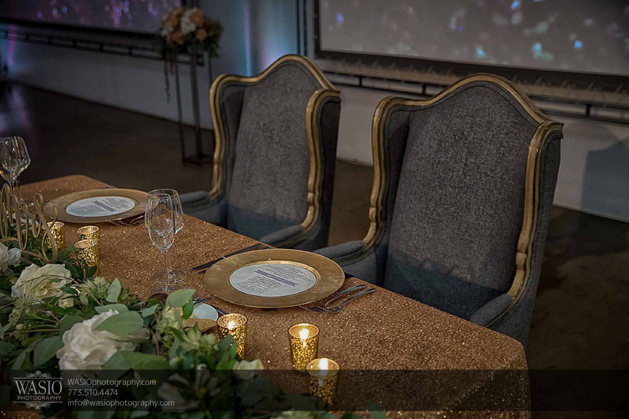 venue-one-chicago-wedding-unique-head-table-details-gold-70 Venue One Chicago Wedding - Katie + Mike