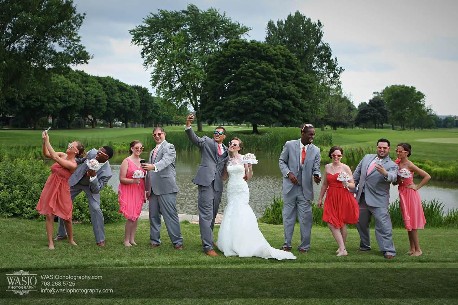 wedding-bridal-party-selfie-orange-fun Chevy Chase Country Club Wedding - Elizabeth & Michael